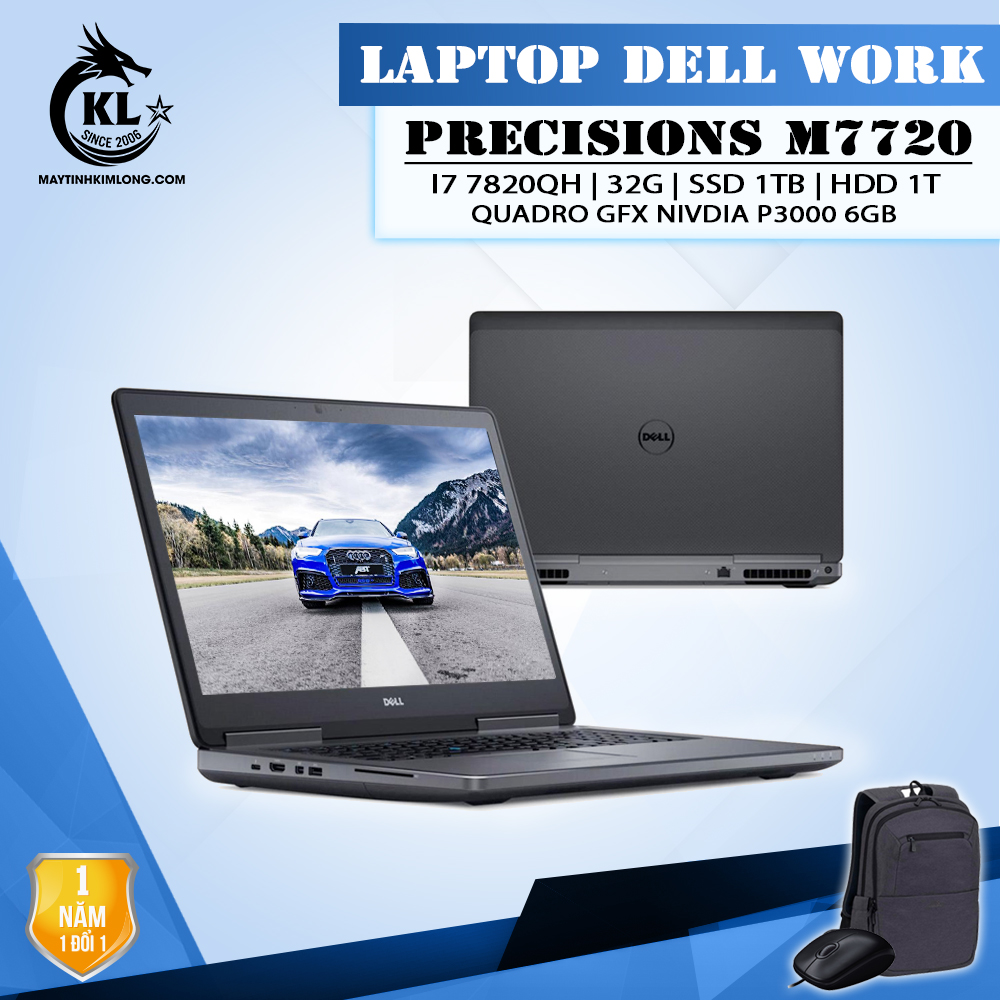 LapTop Dell Precision M7720 i7 7820HQ/Ram 32G/SSD NVME 1TB/HDD 1TB/Quadro P3000 – 17.3″ FHD